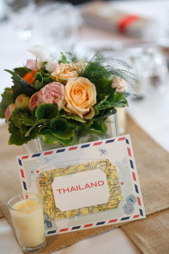 centre de table mariage, centre de table voyage mariage