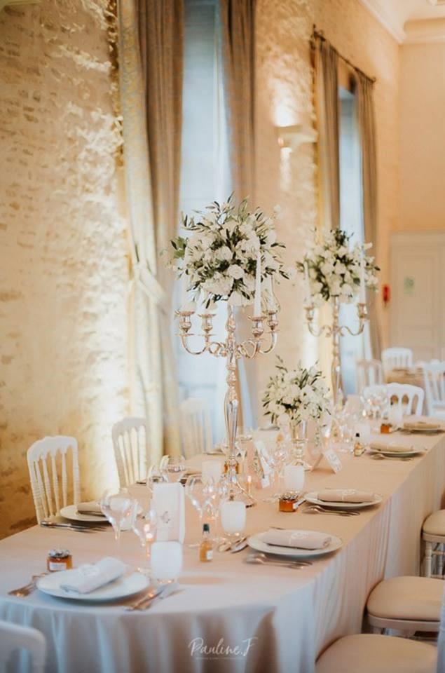 décoration mariage blanc, mariage élégant