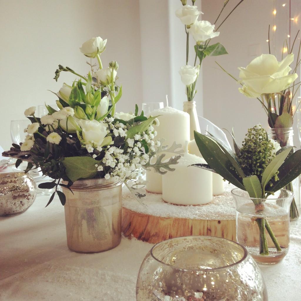 fleurs mariage blanches, centre de table hiver