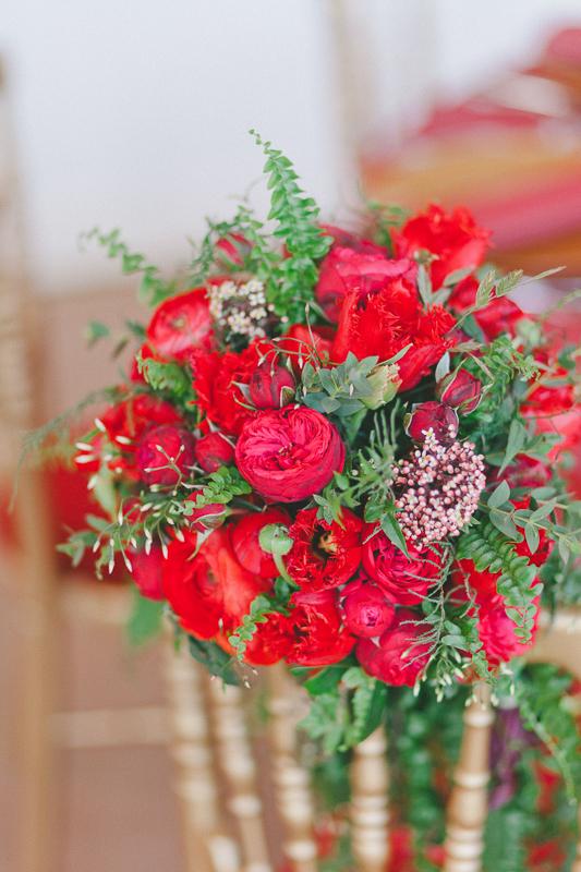 fleurs mariage, fleurs rouge passion