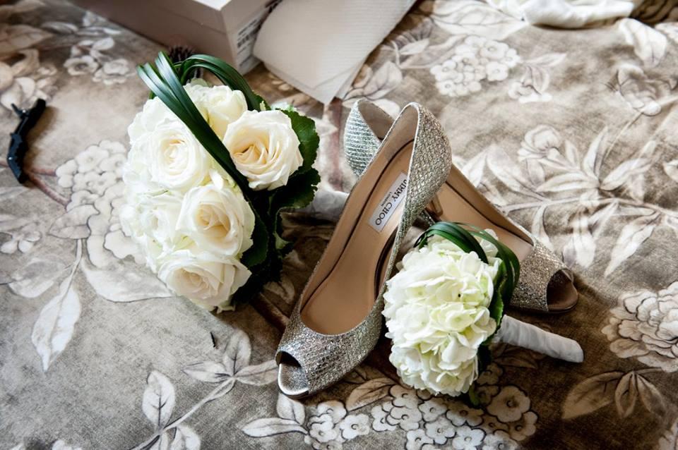 chaussures de mariée avec fleurs